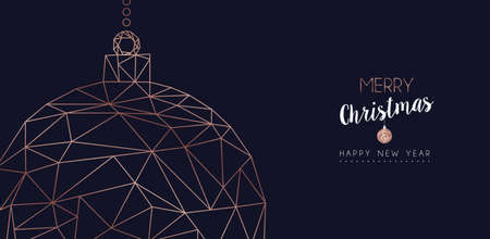 Merry Christmas and Happy New Year web banner with luxury xmas ornament bauble in abstract geometric line style, copper color holiday illustration. EPS10 vector.