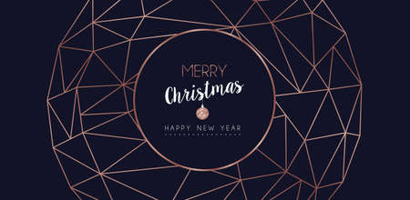 Merry Christmas and Happy New Year web banner with luxury xmas decoration in abstract geometric line style, copper color holiday illustration. EPS10 vector. Ilustracje wektorowe