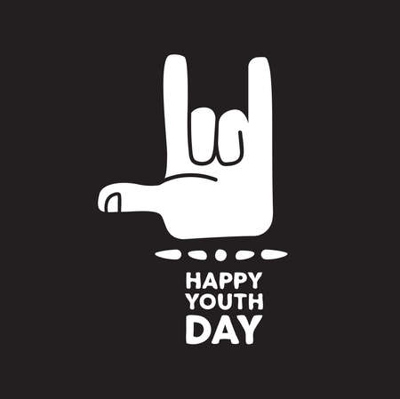 Happy Youth Day greeting card quote for special event. Teen hand doing metal rock music sign with typography text. EPS10 vector.