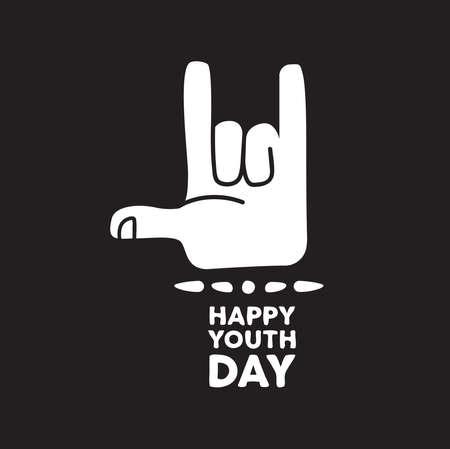 Cita de tarjeta de felicitación de feliz día de la juventud para eventos especiales. Mano adolescente haciendo letrero de música rock metal con texto de tipografía. Eps10 vector.
