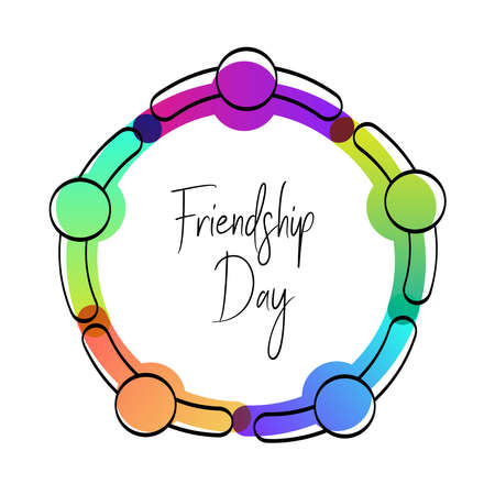 Happy Friendship Day greeting card. Friends doing group hug from top view angle, colorful diverse people team for special event celebration. EPS10 vector.