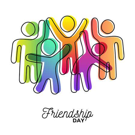 Tarjeta de felicitación feliz día de la amistad. Grupo de amigos coloridos y diversos bailando para la celebración de eventos especiales en un estilo de arte de figura de palo simple con colores vibrantes. Eps10 vector.