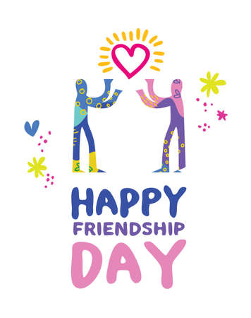 Happy friendship day greeting card illustration, hand drawn friends sharing love in colorful abstract art style. EPS10 vector. Illustration