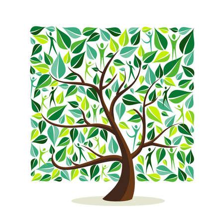 Drzewo z zielonych liści z ludźmi w kształcie kwadratu. Koncepcja przyrodnicza, pomoc społeczna lub kampania opiekuńcza. Eps10 wektor.