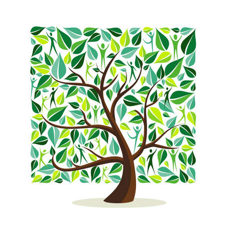 Tree made of green leaves with people in square shape. Nature concept, community help or care campaign. EPS10 vector. Çizim