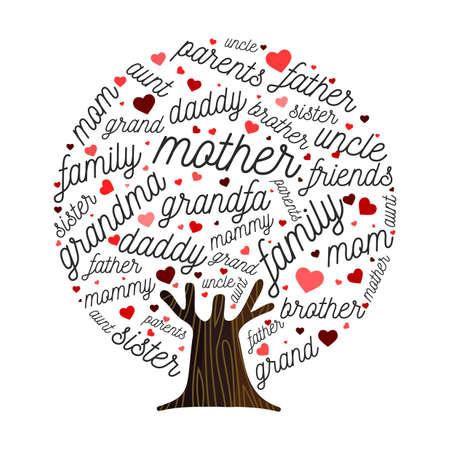 Concepto de ilustración de árbol genealógico hecho de hojas en forma de corazón para el diseño de la genealogía. Incluye mamá, papá. abuelos y hermanos. Eps10 vector.