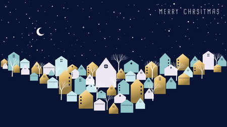 Merry Christmas holiday greeting card. Winter city on xmas eve night with cute houses, seasonal trees and star sky background. EPS10 vector.