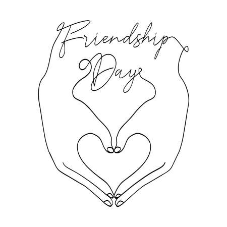Happy Friendship Day greeting card illustration of friends hands making heart shape together in continuous line style with celebration text quote. EPS10 vector.