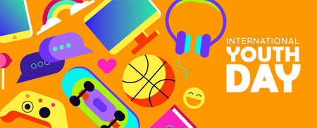 International Youth Day web banner with colorful modern teen leisure activity decoration. Includes social network technology, gaming controller, sports ball and more. EPS10 vector. Ilustrace