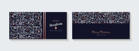 Colección de banners web de feliz Navidad y año nuevo, ilustraciones de vacaciones con decoración de iconos de contorno de cobre. Eps10 vector.
