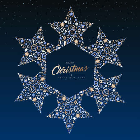 Merry Christmas and New Year luxury greeting card illustration. Star ornament decoration made of elegant copper icons on night sky background. EPS10 vector. Standard-Bild - 111919999