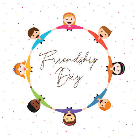 Happy Friendship Day greeting card illustration of diverse children group circle holding hands from top view angle. Friend love concept for special event celebration. EPS10 vector.
