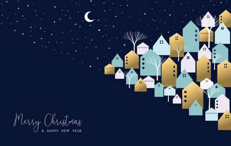Prettige kerstdagen en gelukkig Nieuwjaar wenskaart. Winterstad op kerstavond met schattige huizen, seizoensbomen. Eps10-vector.