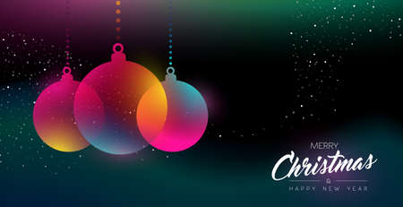 Merry Christmas and Happy New Year greeting card of colorful bauble ornament, modern neon color gradients. Holiday night illustration in futuristic glow style. EPS10 vector.