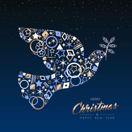 Frohe Weihnachten und Neujahr Luxus Grußkarte Illustration. Weihnachtsfriedenstaube machte von eleganten Kupferikonen auf Nachthimmelhintergrund. EPS10-Vektor.