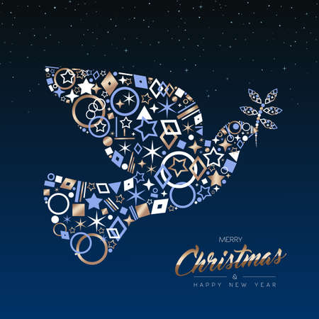 Merry Christmas and New Year luxury greeting card illustration. Xmas peace dove made of elegant copper icons on night sky background. EPS10 vector.