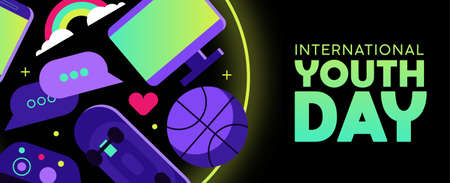 International Youth Day web banner for special holiday event. Modern teen leisure activity icons include social network symbols, gaming controller and sports ball. EPS10 vector. Stock fotó - 111920012