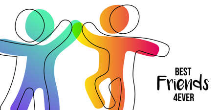 Happy Friendship Day web banner. Friends doing high five for special event celebration in simple stick figure art style with best friend forever quote. EPS10 vector.
