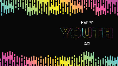Happy Youth Day web banner illustration of abstract modern style colorful gradient background with special celebration text quote. EPS10 vector.