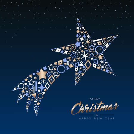 Merry Christmas and Happy New Year greeting card. Elegant xmas shooting star made of outline icon luxury decoration, copper color holiday illustration. EPS10 vector.