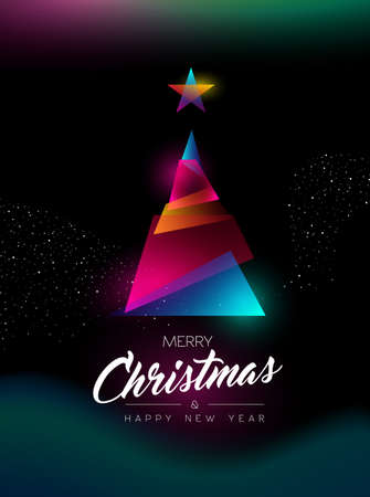 Merry Christmas and Happy New Year greeting card of colorful xmas pine tree, modern glow effect gradients. Holiday night illustration in futuristic neon style. EPS10 vector. Illustration