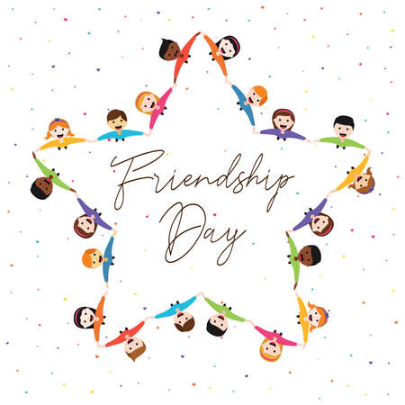 Happy Friendship Day greeting card illustration of diverse kid group in star shape holding hands from top view angle. Friend love concept for special event celebration. EPS10 vector. Vectores