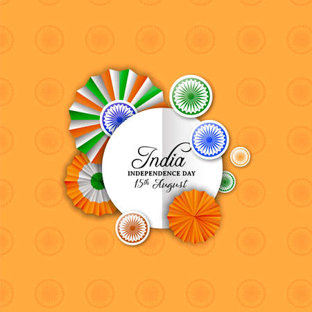 India Independence Day greeting card. Indian tricolor badge decoration in 3d style with paper sign special event text quote.