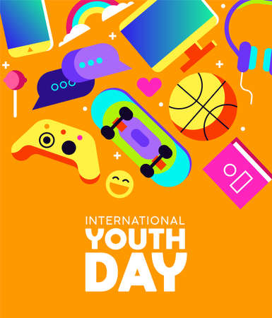 International Youth Day greeting card with colorful modern teen leisure activity decoration. Includes social network technology, gaming controller, sports ball and more. EPS10 vector.