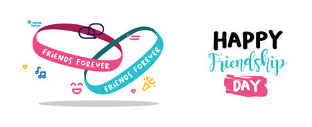 Happy Friendship day holiday web banner of cute friend bracelet. Friends forever wrist band with text quote message. EPS10 vector.