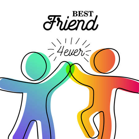 Tarjeta de felicitación feliz día de la amistad. Amigos chocando los cinco para la celebración de eventos especiales en un estilo de arte de figura de palo simple con la cita de mejor amigo para siempre. Eps10 vector.