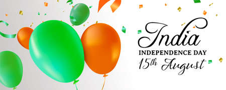 India Independence Day web banner illustration. Flag color balloons and party confetti for special 15th August indian celebration. Illustration