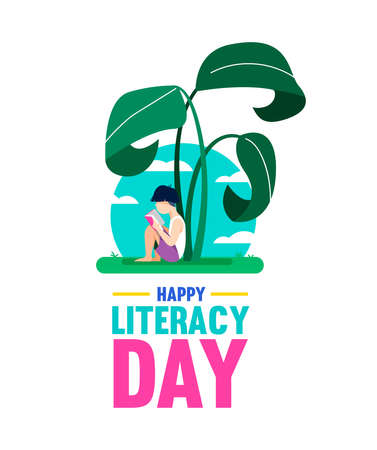 Happy Literacy Day design, boy reading book under giant jungle plant. World education for children, concept illustration. EPS10 vector. Vecteurs