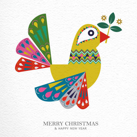 Merry Christmas and Happy New Year folk art greeting card illustration. Scandinavian style dove bird with traditional geometric shapes in festive colors. EPS10 vector.