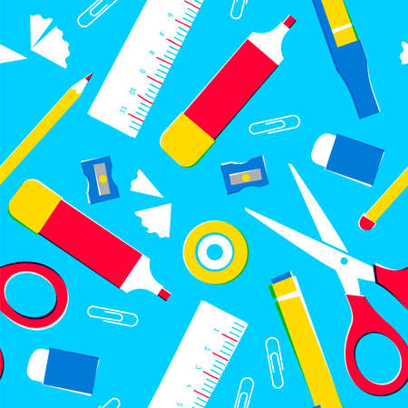 School supplies seamless pattern, classroom equipment background or office space tools. Includes pencil, ruler, eraser, paper clip and more. EPS10 vector. Standard-Bild - 111794474