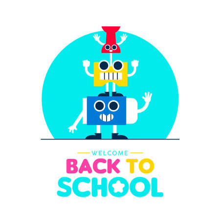 Welcome Back to school illustration with funny art supplies friends. Children education design. Cute cartoons characters include eraser, sharpener and board pin. EPS10 vector. Standard-Bild - 111794477