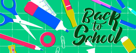 Back to School web banner, retro style classroom supplies on study table. Includes pencil, ruler, eraser, paper clip and more. EPS10 vector. Ilustrace