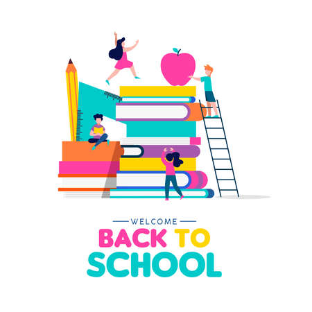 Welcome Back to School illustration concept, children playing around book pile with pencil, ruler and apple. Kids education design in colorful style. EPS10 vector. Ilustração