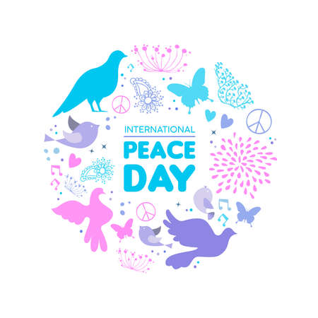 International Peace Day card illustration, dove bird hand drawn doodle decoration with nature elements for special celebration. EPS10 vector.