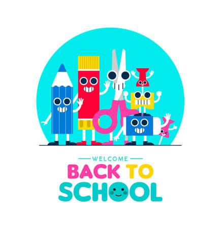 Welcome Back to school illustration with happy art supplies friends waving hello, children education design. Cute characters include pencil, eraser, scissors and glue. EPS10 vector. Standard-Bild - 111794482