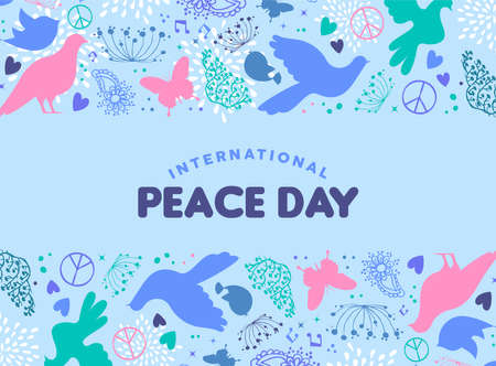 International Peace Day card illustration, dove bird hand drawn doodle decoration with spring nature elements for special hopeful celebration. EPS10 vector.