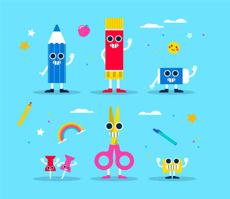 School supply character set. Includes color pencil, glue, scissors, eraser and sharpener. Funny designs in colorful style for class, children nursery or education design. EPS10 vector. Standard-Bild - 111794485