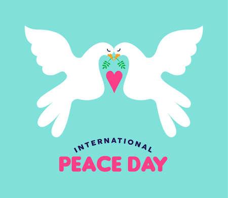 Illustration de la Journée internationale de la paix du couple de colombes blanches tombant amoureux. Carte de voeux de conception de concept de style dessiné à la main pour une célébration pacifique de l'événement mondial. Vecteur EPS10. Vecteurs