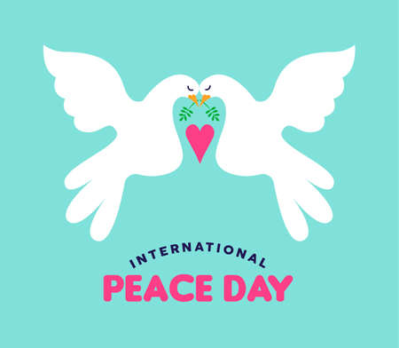 International Peace Day illustration of white doves couple falling in love. Hand drawn style concept design greeting card for global event peaceful celebration. EPS10 vector. Reklamní fotografie - 106823406