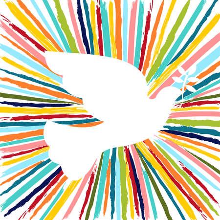 Bunte Taubenvogelform in den lustigen Farben, die von den handgezeichneten Pinselstrichen des Schmutzes gemacht werden. EPS10-Vektor.