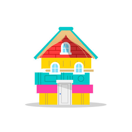 House made of colorful children books on isolated white background, concept illustration for kids imagination or school education. EPS10 vector. Ilustração