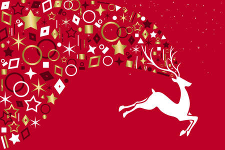 Christmas reindeer jumping on red color background with metallic gold icon ornament decoration on holidays red background. EPS10 vector. Archivio Fotografico - 111794491