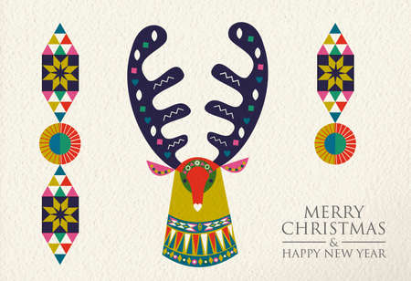 Merry Christmas and Happy New Year folk art greeting card illustration. Colorful deer made of traditional Scandinavian decoration on paper texture background. EPS10 vector.