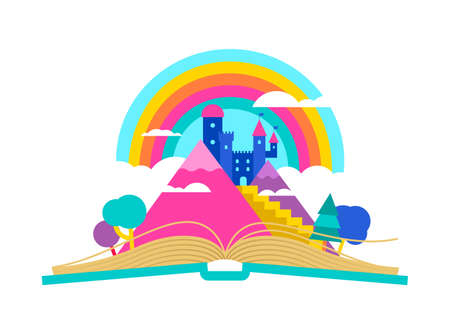 Open book illustration with magic fairy tale kingdom landscape, children imagination and reading concept. Castle tower mountain on rainbow sky, colorful fantasy world design. EPS10 vector. Banque d'images - 106823410