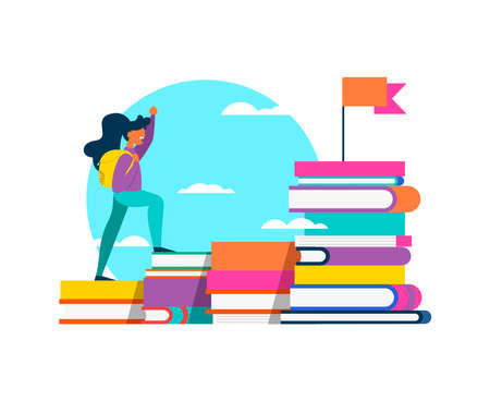 Happy girl student climbing mountain of study books for school learning challenge, success concept. Isolated education design in vibrant flat colors. EPS10 vector. Banque d'images - 111794495