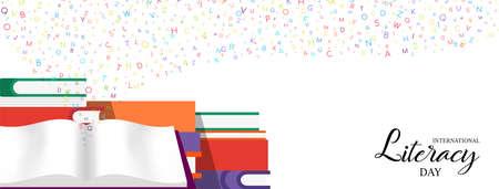 World Literacy Day Web-Banner-Illustration von bunten Schulbüchern für Kindererziehung und Alphabetbuchstaben. EPS10-Vektor.